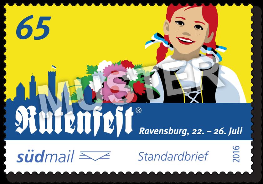 Sonderbriefmarke Ravensburger Rutenfest 2016 – Standardbrief – 10er Bogen