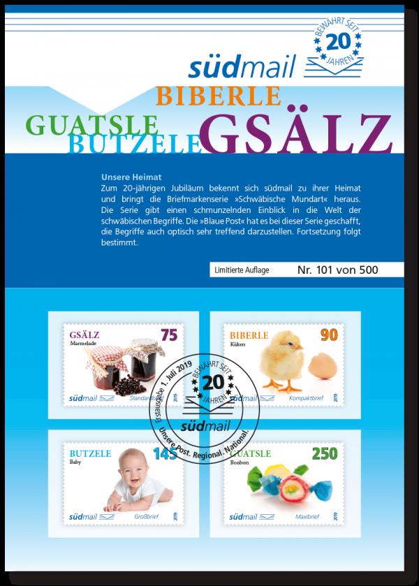 südmail Ersttagskarte zum Thema Schwäbische Mundart mit 4 abgestempelten Briefmarken